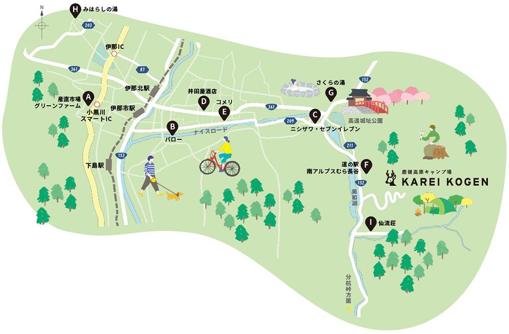 伊那ICから鹿嶺高原キャンプ場までの地図