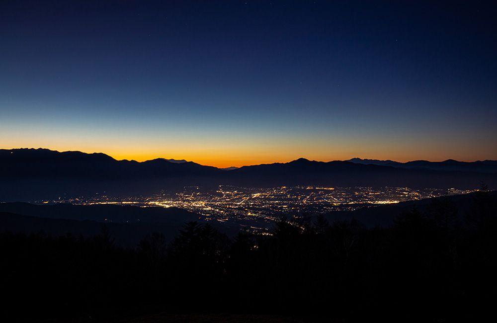 夕暮れと伊那谷の夜景